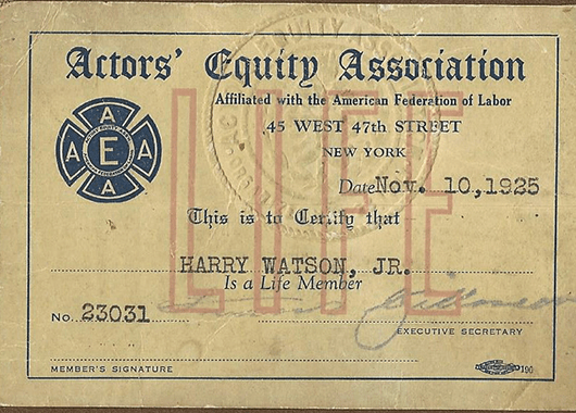 1925 Actors' Equity Association member card (Source: Stage Directions)