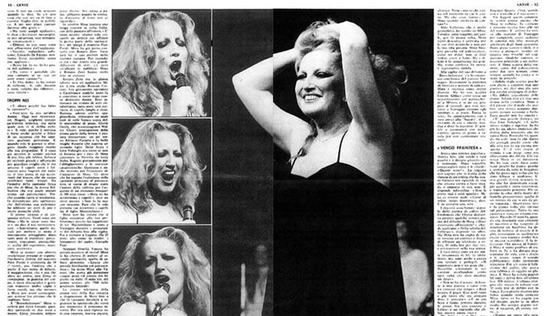 "Coverage on ""Gente"" of Mina's last performance (Source: Mina Mazzini)"