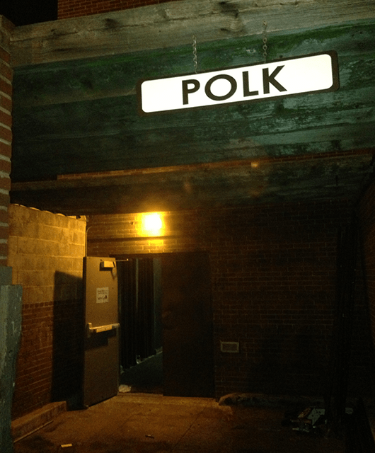"""The entrance to Walsh Black Box for """"Polk Street"""" (Source: T. Chase Meacham)"""