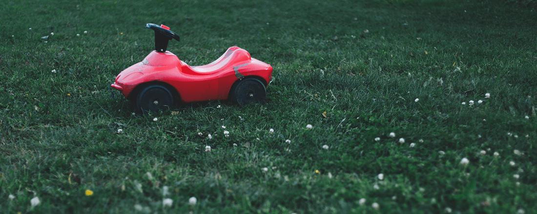 Toy Car on Lawn