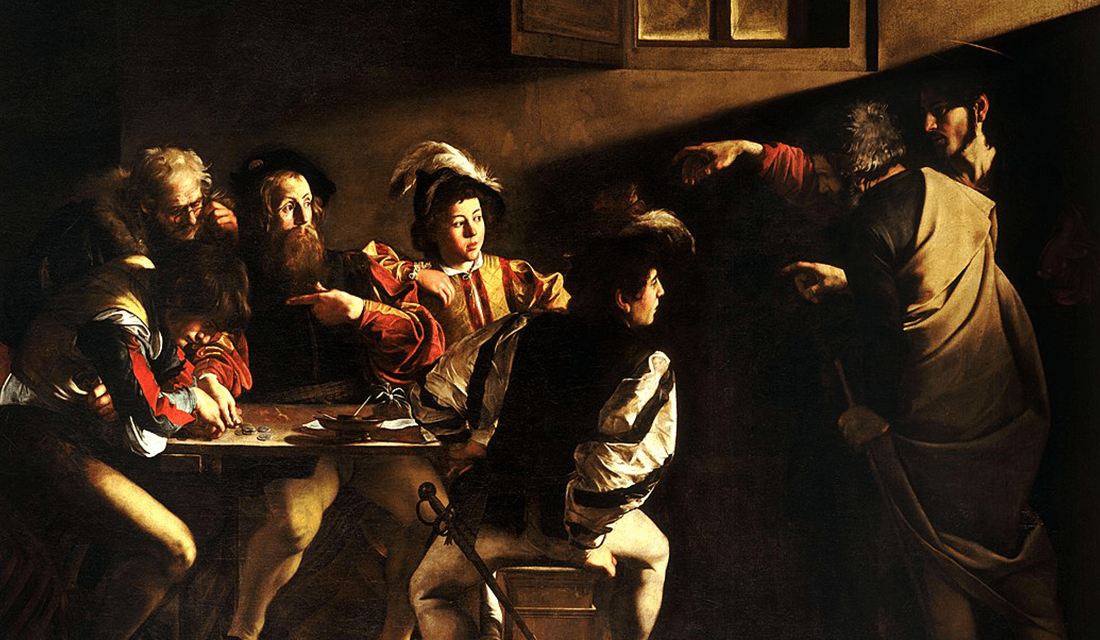 """The Calling of St. Matthew"" by Caravaggio (Source: Wikipedia)"