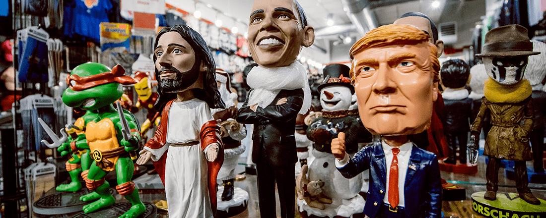 Bobbleheads of Jesus, Obama, and Trump