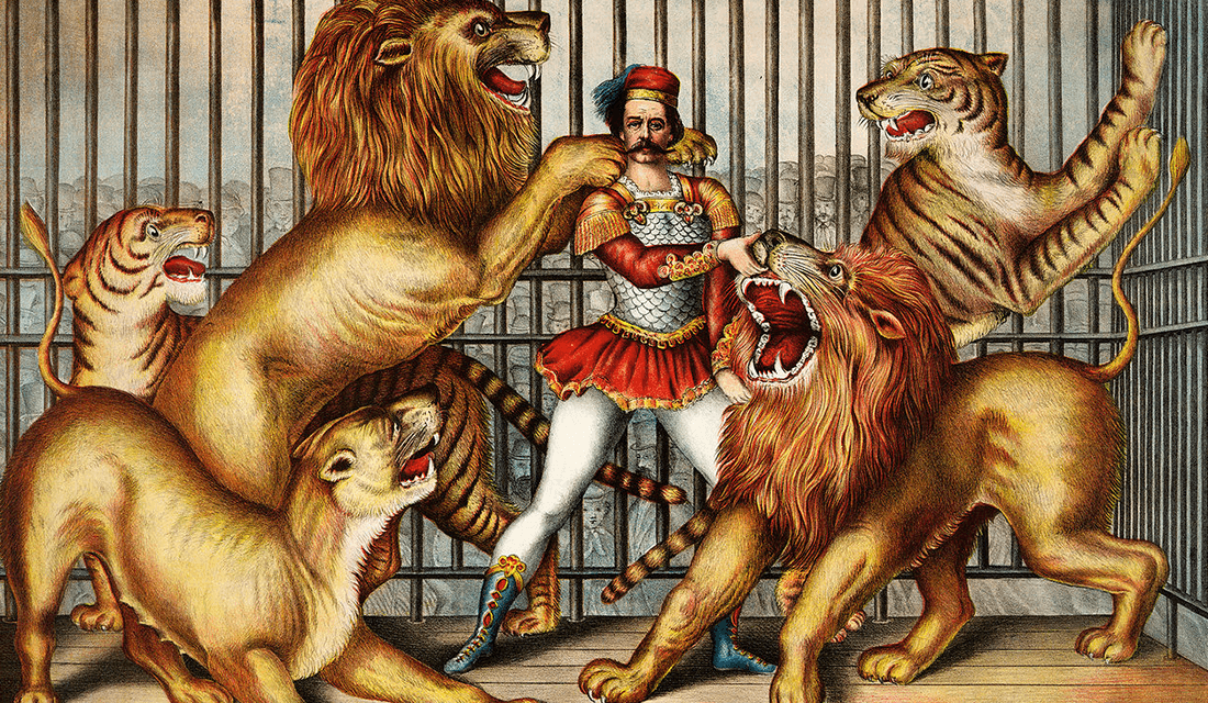 Lion Tamer Lithography by Gibson & Co. (Source: Wikimedia Commons)