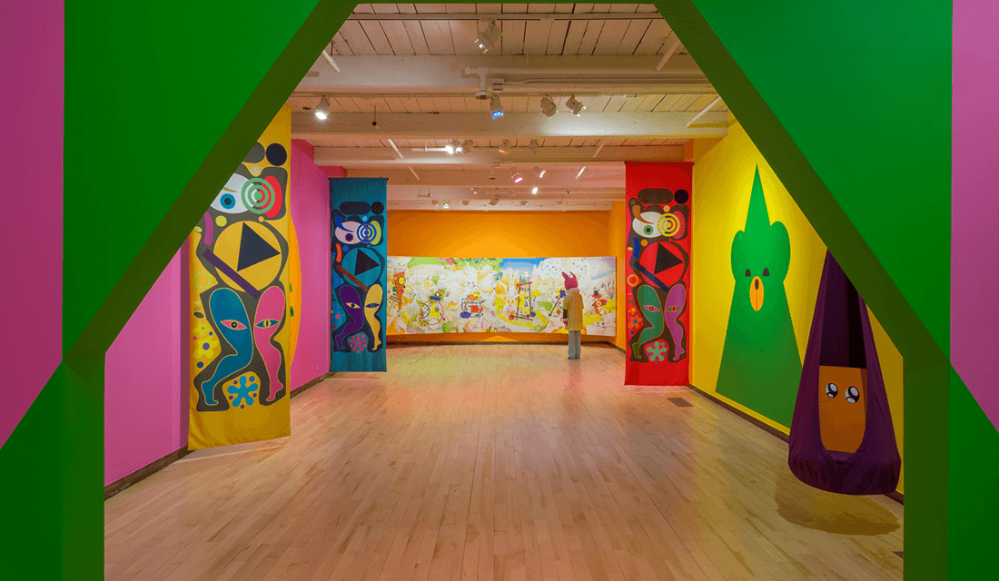 "Installation view of ""Ad Minoliti: Fantasias Modulares"" (Source: Kaelan Burkett/MASS MoCA)"