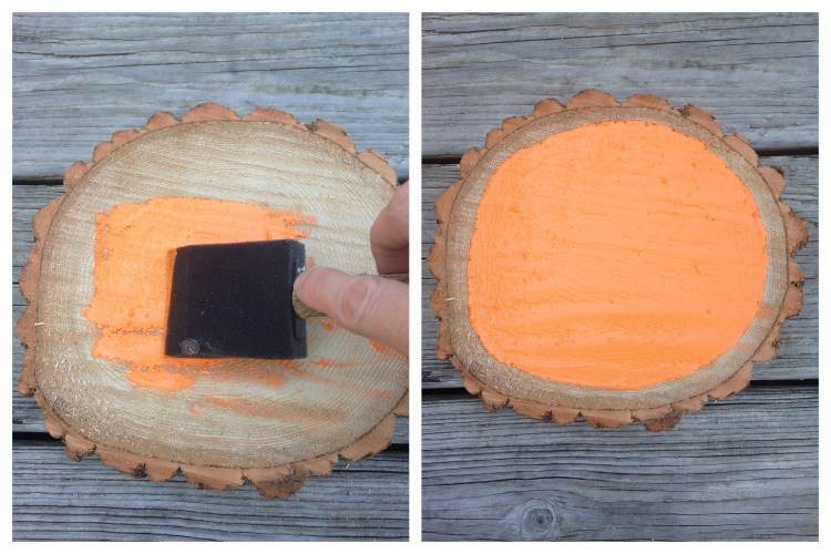 Painted Wood Slice Pumpkin