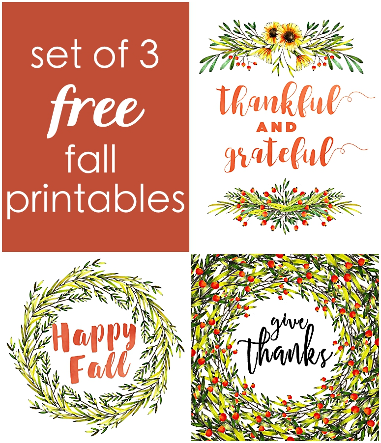 Set of 3 Free Fall Printables