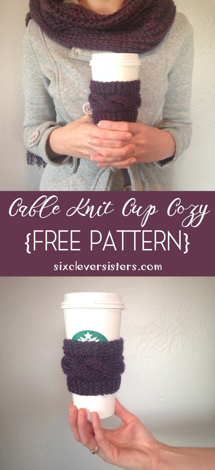 Free Pattern for {Cable Knit Cup Cozy} - Six Clever Sisters
