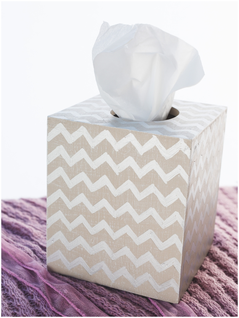 diy shabby chic chevron tissue box cover six clever sisters