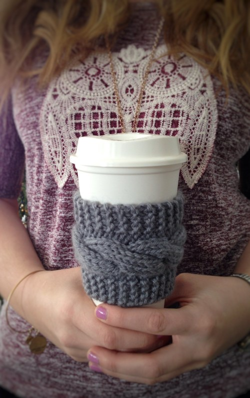 knitting cup sleeve free pattern coffee