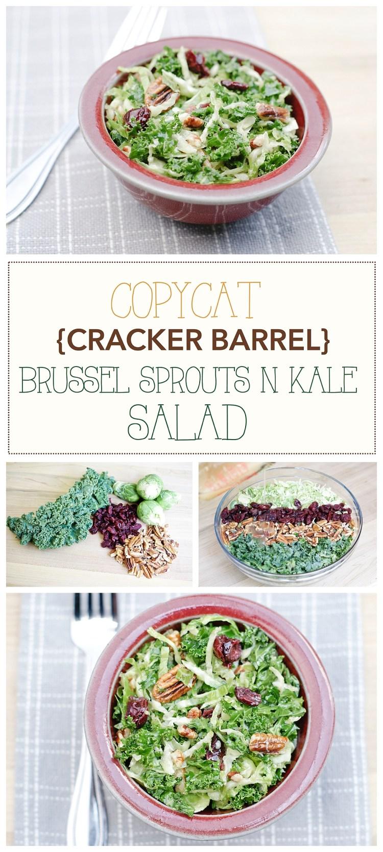 Cracker Barrel Recipes | Cracker Barrel Copycat Brussel Sprouts n Kale Salad Recipe | Vegan Healthy Salad | Gluten free | Pecans Craisins Salad | Maple Vinaigrette Recipe | Healthy Meal Ideas | Healthy Recipes | Spring Summer Salads | Copycat Recipes | Six Clever Sisters