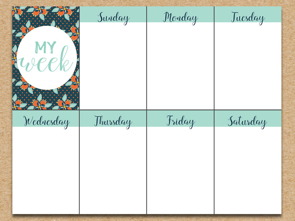 Bright image with regard to free weekly planner