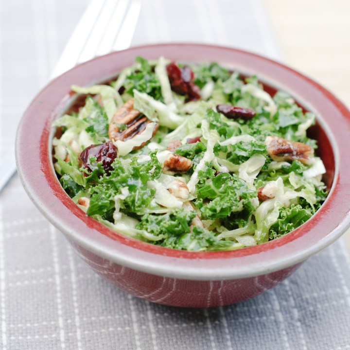 Cracker Barrel Copycat Brussel Sprouts n Kale Salad Recipe | Vegan Healthy Salad | Gluten free | Pecans Craisins Salad | Maple Vinaigrette Recipe | Healthy Meal Ideas | Healthy Recipes | Spring Summer Salads | Copycat Recipes | Six Clever Sisters