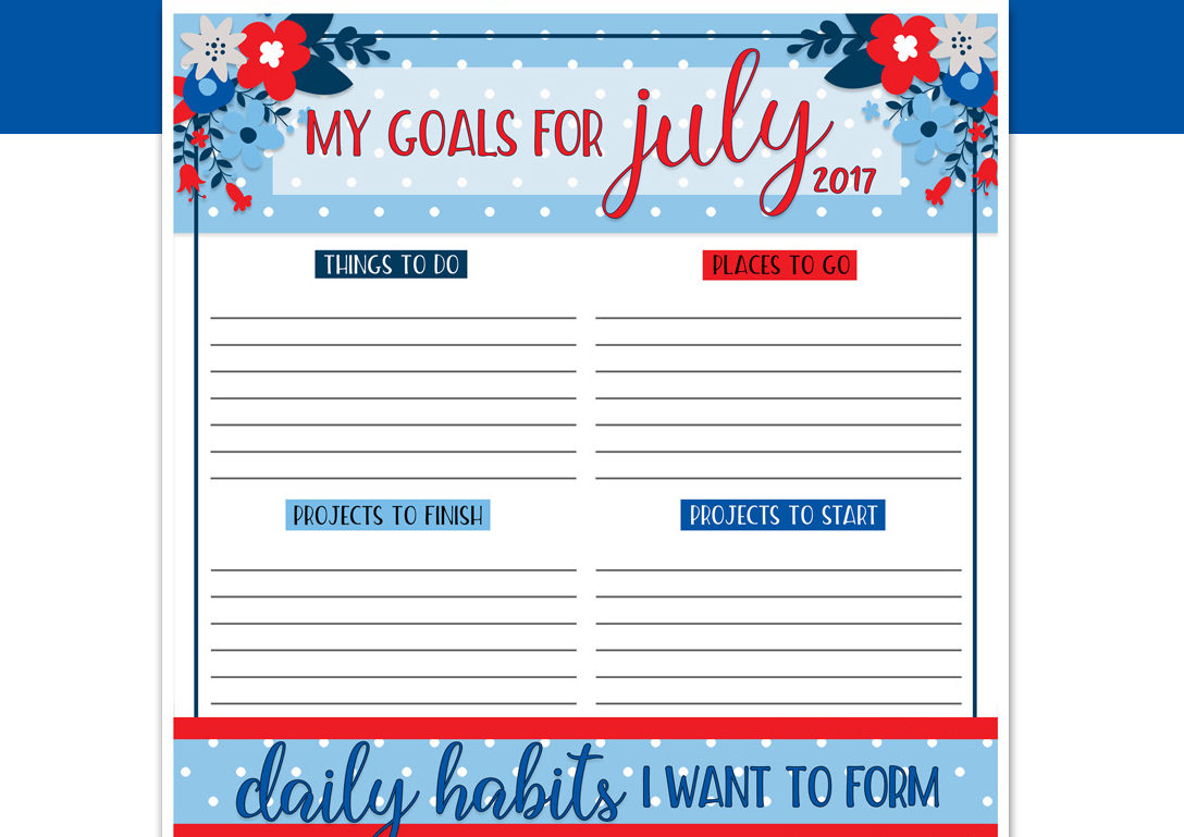 Free Download Goals Worksheet Printable July