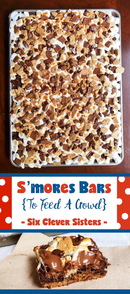 S'mores Bars | To Feed A Crowd | Easy Desserts | Sheet Pan Dessert | Recipe | Dessert | Chocolate | S'mores | Campfire Food | Hershey's Chocolate | Dessert Bars | Marshmallow Desserts | Looking for nice, summery dessert to feed a crowd? We've got the perfect recipe that will wow your guest! Head to Six Clever Sisters for the full recipe.