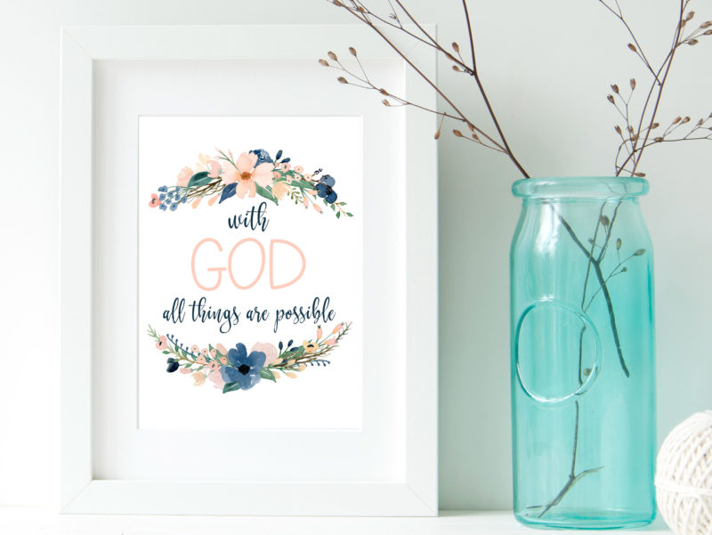 picture relating to Printable Scripture known as Free of charge Printable Scripture Artwork: With God - 6 Sensible Sisters