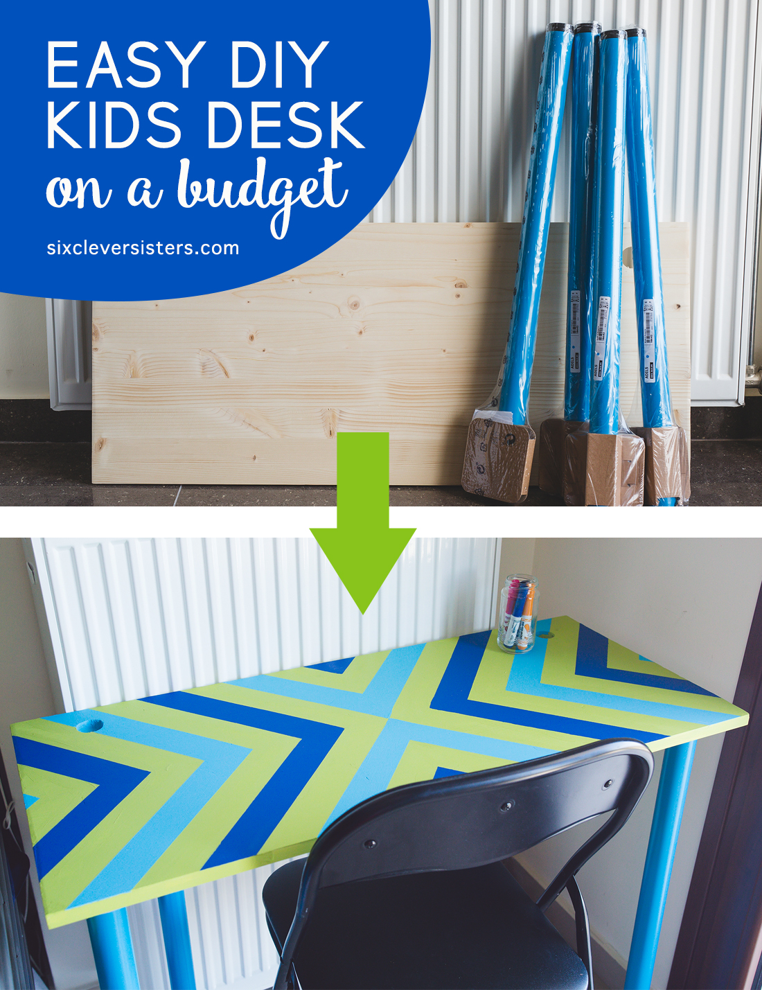 Easy DIY Kids Desk {on a budget} - Six Clever Sisters