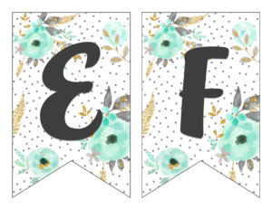 Free Printable Alphabet Banner MINT& GOLD} Six Clever Sisters