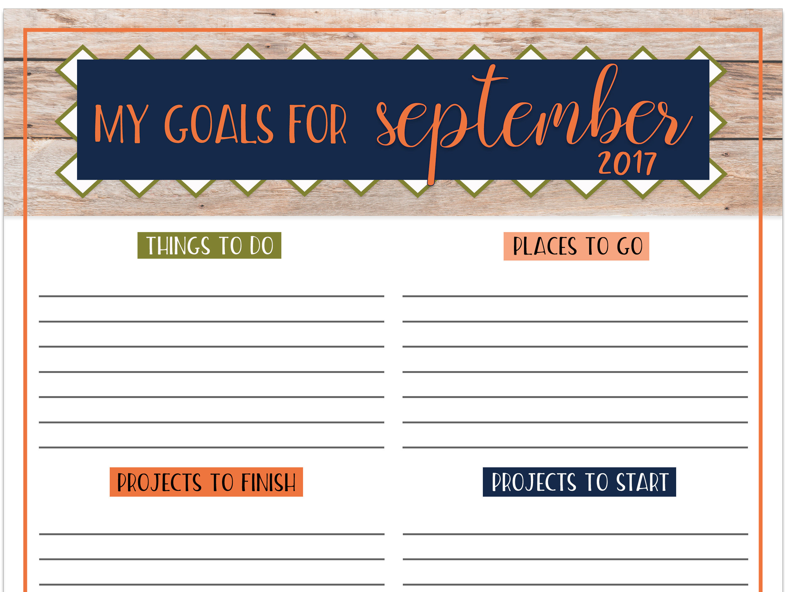 Goals Worksheet Free Printable September