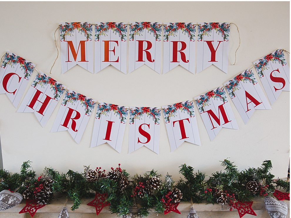 picture about Printable Christmas Banner known as Printable Merry Xmas Banner - 6 Good Sisters