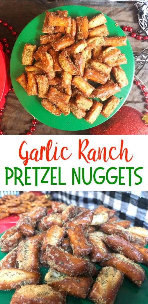Garlic Ranch Pretzel Nuggets | Garlic Pretzels | Snack Food | Snacks for Party | Pretzel Recipes | Garlic | Salty Snacks | A yummy flavorful snack, recipe on Six Clever Sisters!