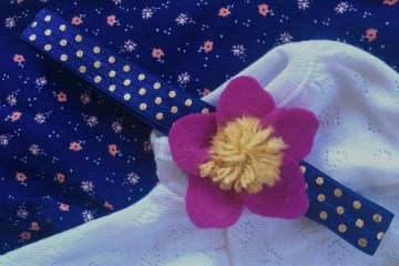 Baby headband stretchy polka dot floral easy diy baby gift baby project no-sew elastic headband navy and pink and mustard