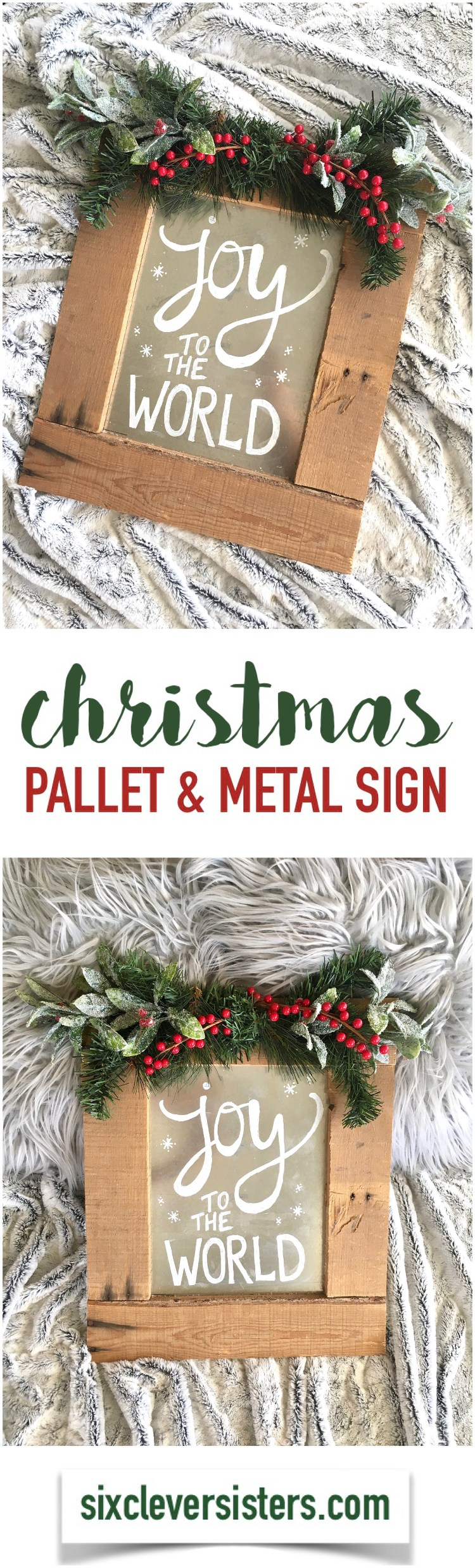 DIY Pallet Christmas Sign - Joy to the World Pallet Wood & Metal ...