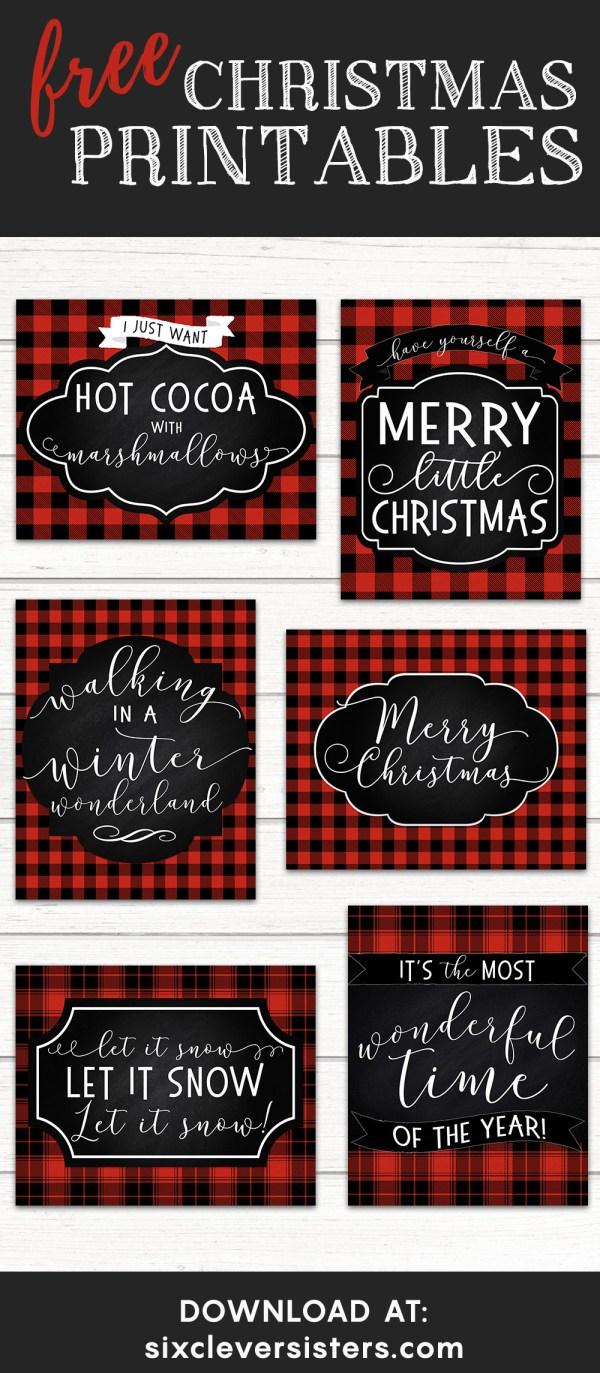6 Free Red Buffalo Plaid Check Christmas Printables Six Clever Sisters