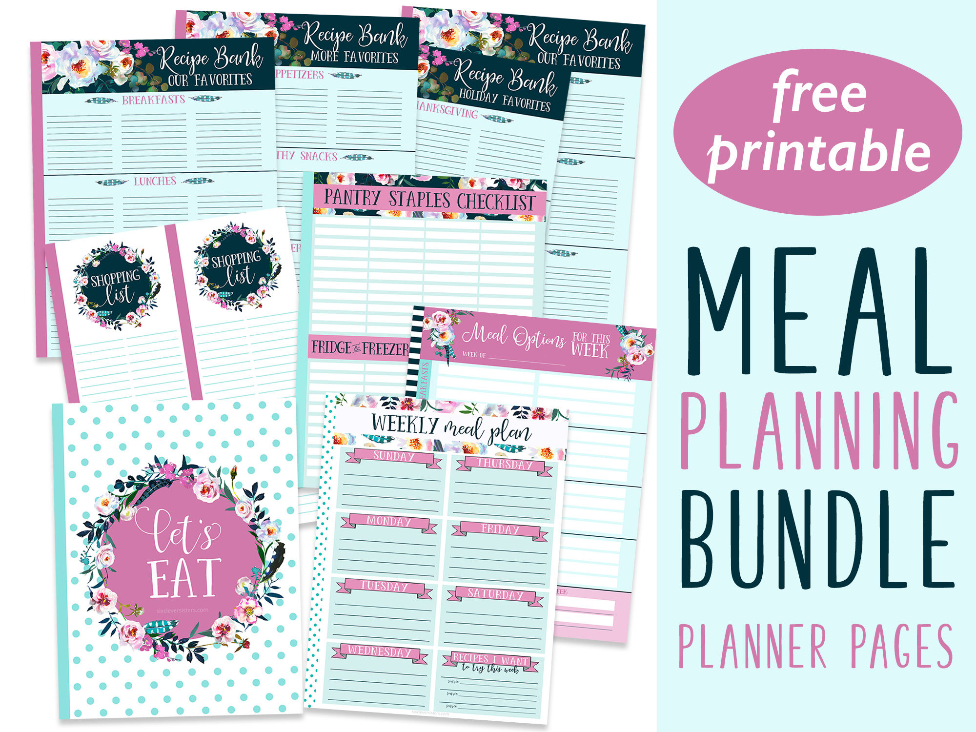 photograph about Planner Cover Printable identified as Printable Evening meal Planner Internet pages Package deal - 6 Wise Sisters