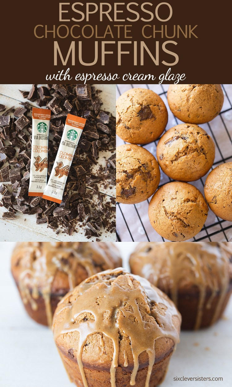 Espresso Muffins | Chocolate Espresso Muffins | Espresso Coffee Muffins | Espresso Chip Muffins | Espresso Muffins Recipe | Espresso Muffins Coffee | Espresso Muffins Chocolate | Try this luscious and cozy muffin recipe to perk up your mornings! Recipe on the Six Clever Sisters blog.