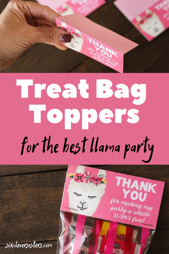 Llama Party Ideas | Llama Party Theme | Llama Party Decorations | Llama Party DIY | Llama Party Printable | Llama Party Treats | Treat Bag Toppers | Treat Bag Toppers Printable | Treat Bag Toppers Template | Llama Bag Toppers | Llama Treat Bags | Hosting llama inspired party or shower? These llama treat bag toppers are a free printable perfect to add to your party treat bags! #llama #llamaparty #llamabirthday #llamadiy #treatbags #party #sixcleversisters