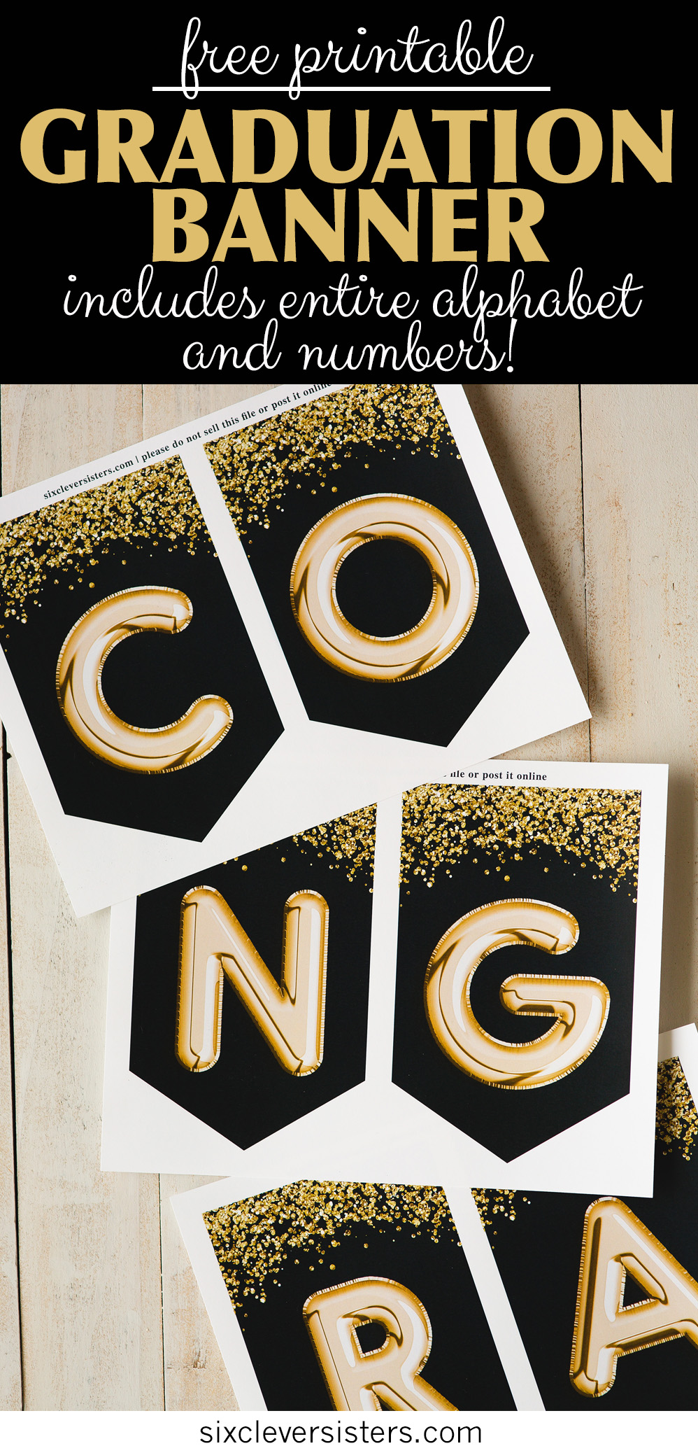 image relating to Printable Graduation Decorations named Commencement banner, Black and Gold - Totally free Printable - 6
