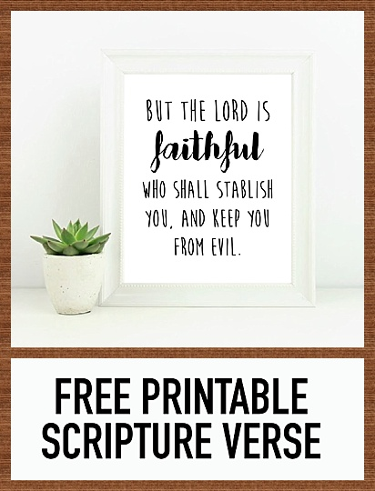 photograph regarding Free Printable Scripture Verses named Cost-free Printable 8x10 Scripture Verse - 2 Thessalonians 3:3