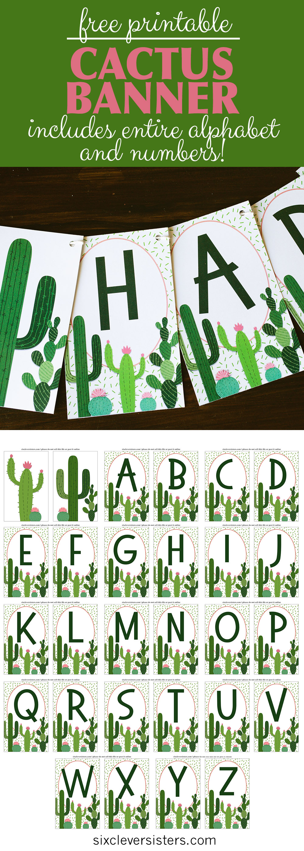 photo about Cactus Printable named Cactus Banner Free of charge Printable - 6 Good Sisters
