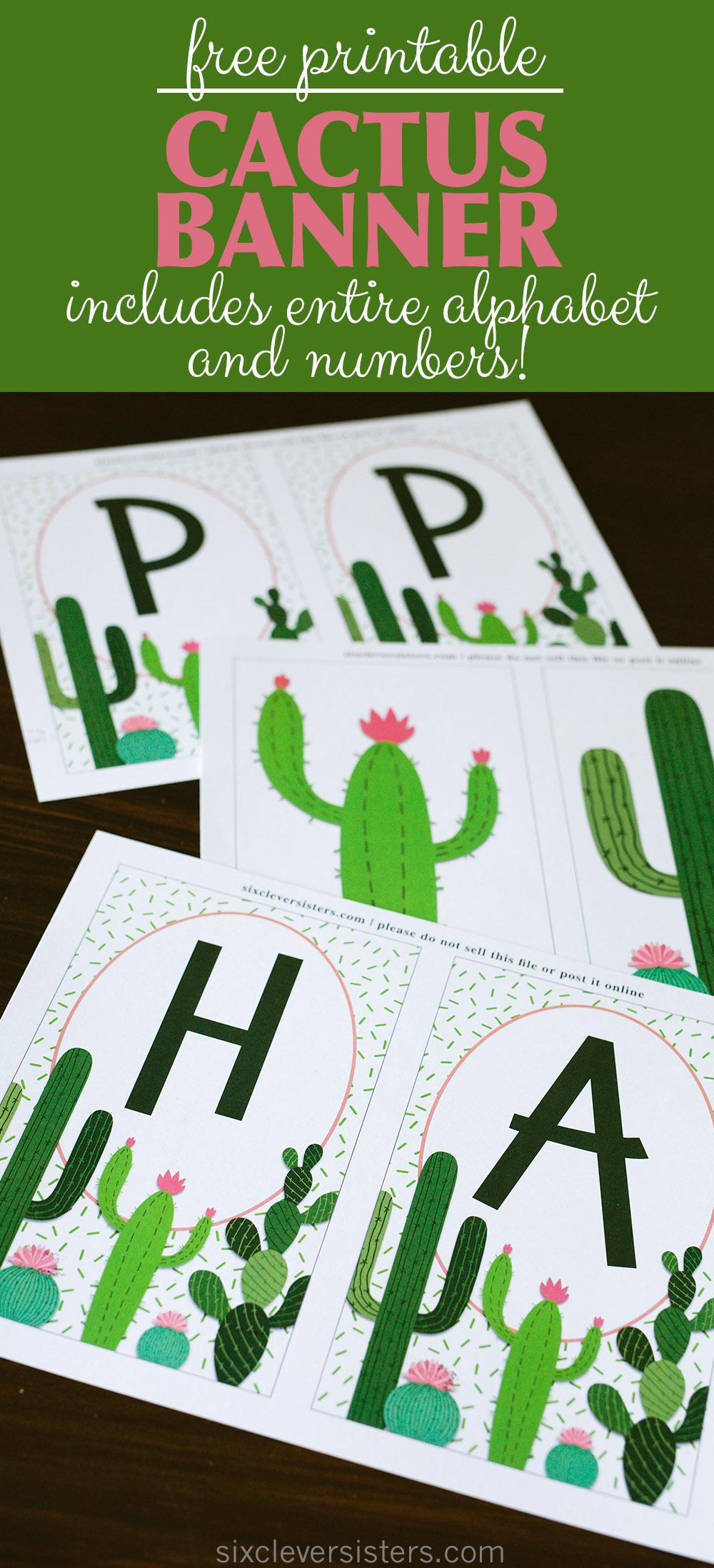 photo regarding Cactus Printable identified as Cactus Banner No cost Printable - 6 Smart Sisters