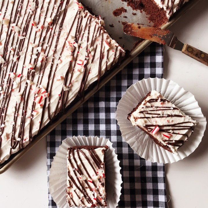 Peppermint Bark Sheet Cake