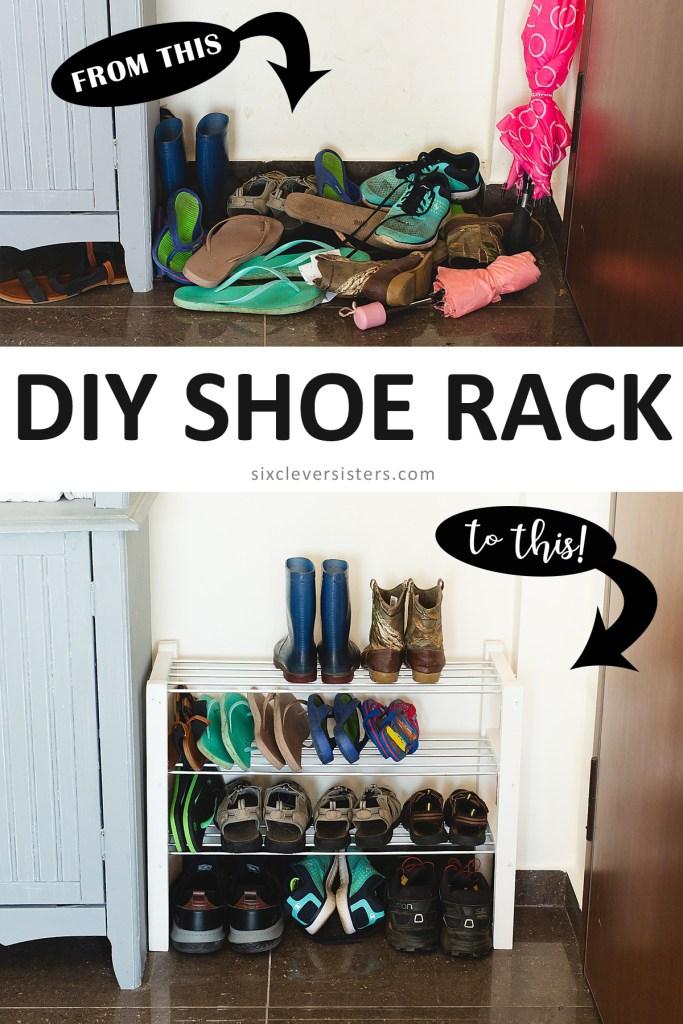 shoe rack DIY | shoe rack DIY small spaces | DIY shoe rack easy | shoe rack easy DIY | shoe rack DIY entrance | DIY shoe rack easy cheap | DIY shoe rack space saving on the Six Clever Sisters blog!