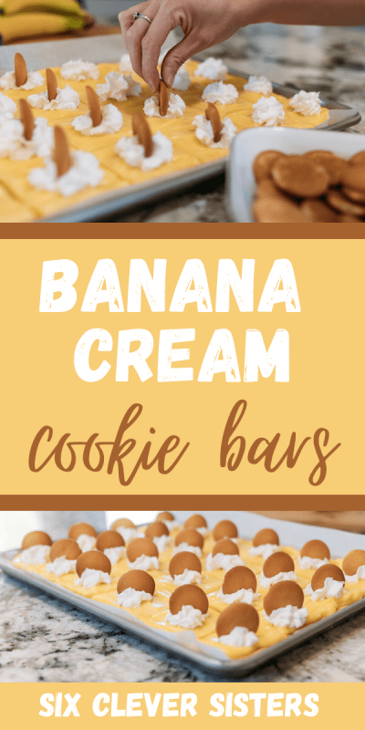 Banana Cream Cookie Bars | Banana Cream Pie Recipe | Banana Cream Pie Cake Recipe | Banana Cream Pie Sheet Cake | Banana Desserts | Banana Dessert Recipes | Banana Desserts Easy | Banana Cream Pie Cookies | Banana Dessert Recipes Easy | This easy banana cream pie cookie bar recipe is one that you can take to any family gathering or party and it will be a crowd favorite! #banana #cake #cookie #dessert #recipe #recipeoftheday #easyrecipe #dessertfoodideas #bananacreampie