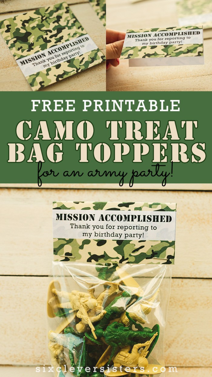 Camo Party | Camo Party Decor | Camo Party Favor Bags | Camo Party Decoration | Camo Party Theme | Camo Party Favors | Army Party Favors | Kids Camo Party Decorations | Camouflage Party Favors | Diy Camo Party Ideas | Camo Birthday Party | Planning a camo theme party? These free printable camo party treat bags are perfect for your army party! #camo #camoparty #camopartyfavors #partyfavors #camopartydecor #camopartytheme #treatbags #treatbagtoppers #bagtoppers #armyparty #sixcleversisters