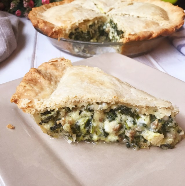 Spinach Pie | Spinach Recipes | Spinach Dinner | Spinach Quiche | Sausage Recipes | Dinner | Family | Meal | Easy Dinner | Quick Meal | Easy Recipe | Cheese | Pie Crust | Homemade | Six Clever Sisters