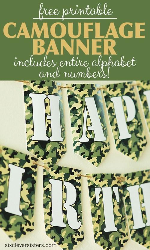 Camo Birthday Banner | Camo Banner | Camouflage Army Banner DIY | Army Birthday Banner DIY | Camo Banner Printable | Camo Banner Free | Camouflage Banner Printable | Camouflage Camo Banner Free Printable | Camouflage Camo Banner Printable | Camouflage Birthday Banner Free Printable #camo #camouflagebirthday #armybirthday