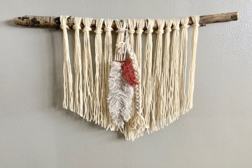 Macrame Knot | Macrame DIY | Macrame Tutorial | Yarn Wall Hanging | Macrame Feather | DIY Macrame Wall Hanging | Woodland Nursery | Baby Boy Nursery Decor | Six Clever Sisters