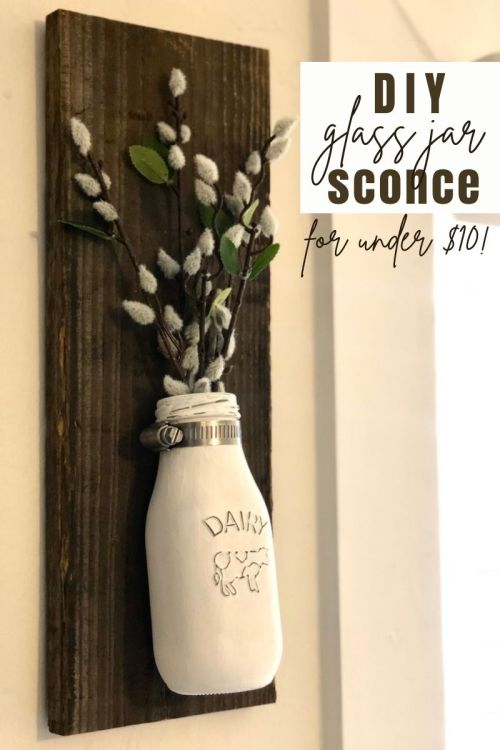 Mason Jar Sconces | DIY Jar Sconce | Mason Jar DIY | Farmhouse Decor | DIY Farmhouse | Learn how to make these beautiful mason jar sconces for your farmhouse at SixCleverSisters.com