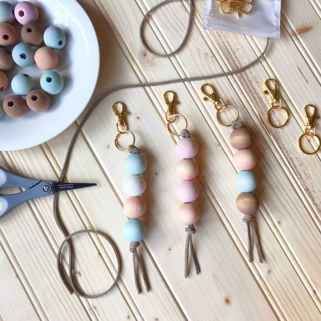 Keychain | DIY Keychain | Wood Craft | DIY Wood | Custom Keychain | DIY Gift | Budget Gift | Baby Gift | Housewarming | Wood Beads | Jewelry Making | DIY Wood | Six Clever Sisters