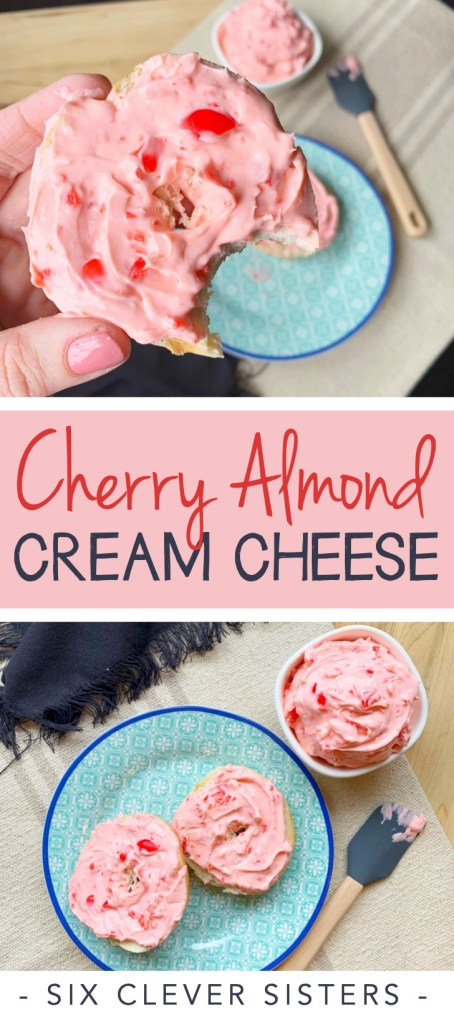 Cherry Almond Cream Cheese   Brunch   Easy Party Food   Brunch Recipes   Bagels   Cream Cheese   Cherry   Almond   Breakfast   Lunch   Cheese Spread   Six Clever Sisters