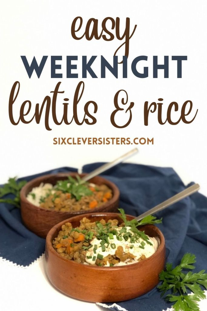 Lentils Recipe | Lentils and Rice | Easy Weeknight Meal | Easy Lentil Recipe | Healthy Lentils Recipe | Lentil Recipe | This easy lentils and rice recipe doesn't take long to make but is sure to be a comforting and warming meal for everyone! The recipe is at SixCleverSisters.com