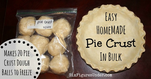 Making pie crust in bulk allows you to freeze enough balls of dough to last the whole year