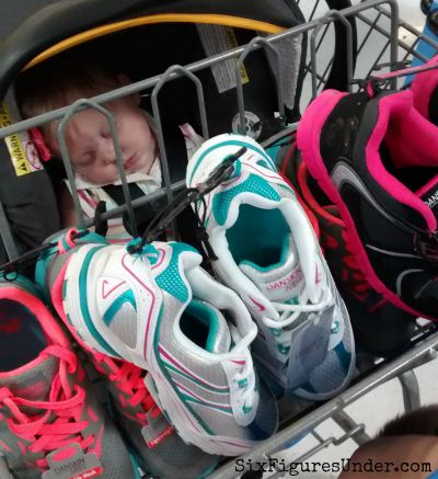 Buying lots of shoes so my daughter can try them on at home