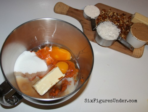 Sweet Potato Souffle-- First mix together the sweet potato, sugar, eggs, butter, milk and vanilla.