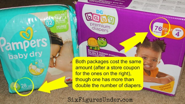 Comparing name brand and generic diaper prices