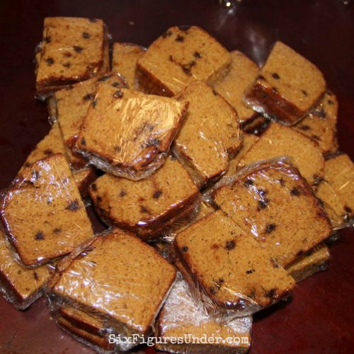 Homemade pumpkin bread individually packaged for lunches